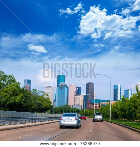 Houston skyline from Buffalo Bayou Pkwy Texas US USA