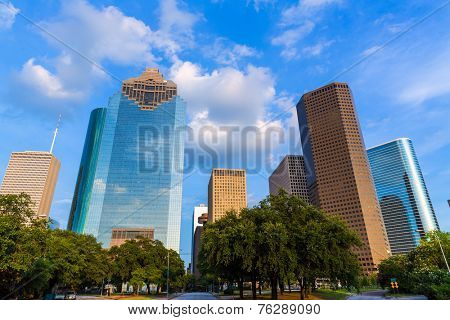 Huston skyline downtown from west at Texas US USA