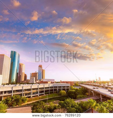 Houston Skyline North view aerial sunset in Texas US USA