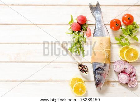 Bass Fish And Vegetables
