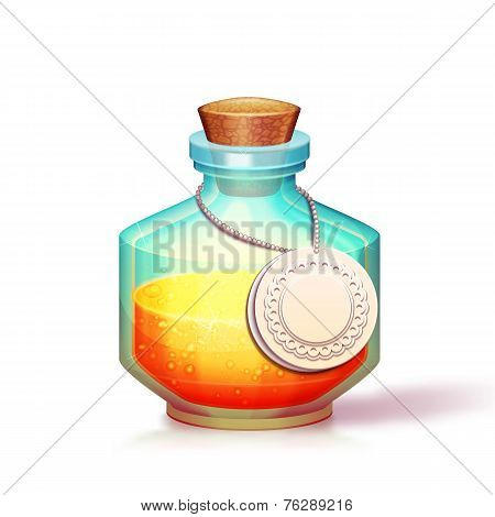 Illustration of glass flask with potion