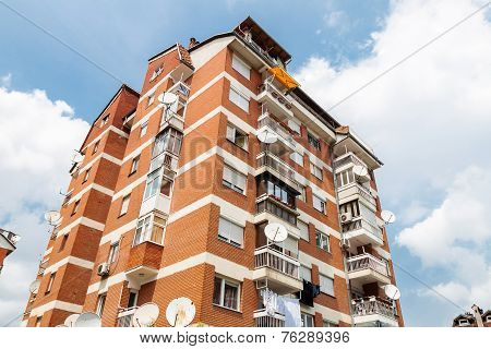 old apartment block of brick