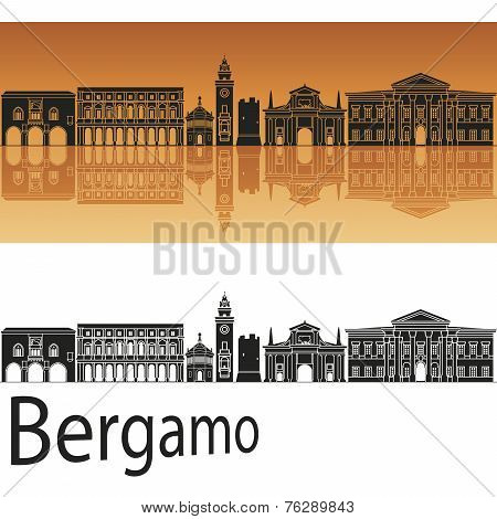 Bergamo Skyline In Orange Background
