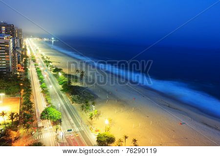 Night View Of Ipanema Beach After Sunset,  With Fog From The Sea On The Background, Rio De Janeiro