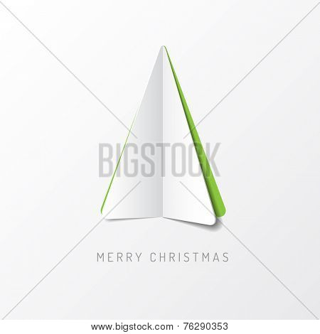 Vector Merry Christmas card with a white minimalistic tree made from paper