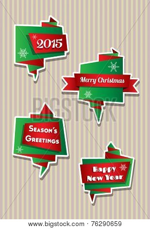 Origami style folded paper speech bubbles with Christmas theme, against candy stripe background.