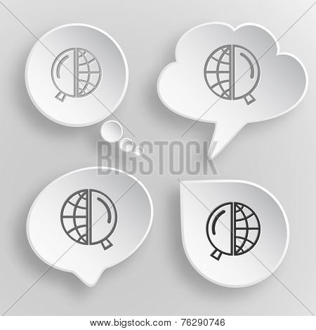 Globe and magnifying glass. White flat raster buttons on gray background.