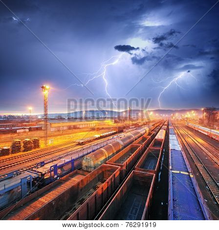 Train Freight Transportation At Storm - Cargo Transit