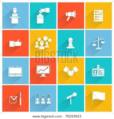 Elections icons white set