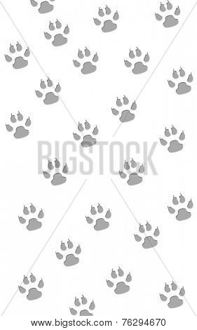 Gray paw prints in a random pattern on white
