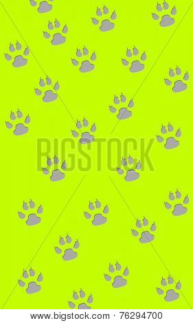 Gray paw prints in a random pattern on neon green