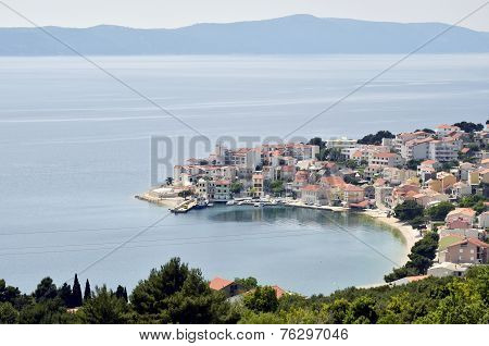 A peninsula with houses in the coast of Croatia