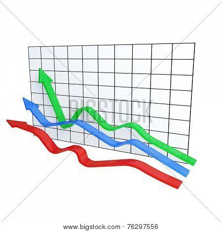 Three varicolored arrows on diagram