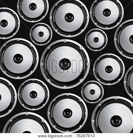 Many elegant white and black loudspeakers