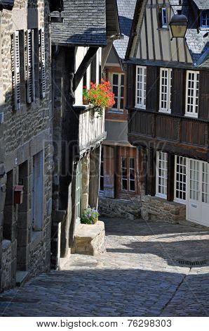 Half-timbered Building In The Rue De Jerzual, In Dinan