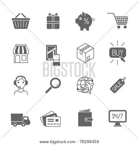 Shopping e-commerce icons set black