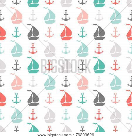 Seamless vector pattern of anchor and sailboat shape