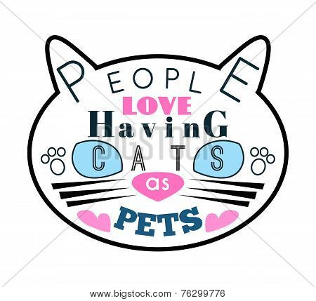 Vector illustration of cat silhouette with blue eyes and message