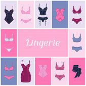 image of panty-tights  - Fashion lingerie background design with female underwear - JPG