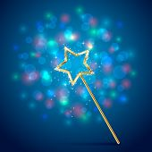 pic of magic-wand  - Golden magic wand on blue glittering background illustration - JPG
