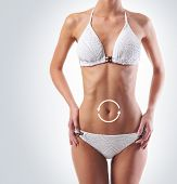 image of skinny fat  - Female stomach with a cycle pointers - JPG