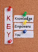image of empower  - Knowledge Empowers You and KEY Acronym notes pinned on cork board - JPG