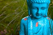 picture of gautama buddha  - An aqua Gautama Buddha statue located in a garden - JPG