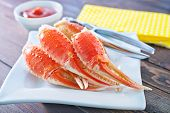 pic of cooked blue crab  - boiled crab claws on the white plate - JPG