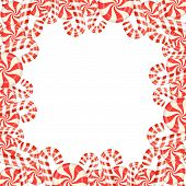 foto of candy cane border  - Frame of candies on white background illustration - JPG