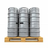 stock photo of keg  - Pallet of Beer Kegs isolated on white background - JPG