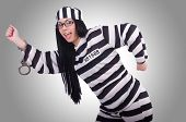 image of prison uniform  - Prisoner in striped uniform on white - JPG