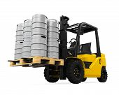 foto of keg  - Forklift and Pallet of Beer Kegs isolated on white background - JPG