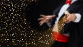 picture of wizard  - Magician hands with magic wand conjuring sparkling stars stream  - JPG