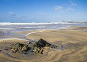 stock photo of st ives  - Godrevy Lighthouse on the coast of cornwall - JPG