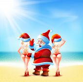 Постер, плакат: Santa Claus and two girls