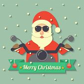 stock photo of christmas claus  - Santa Claus wearing sunglasses and riding motorcycle within Merry Christmas ribbon badge on snow background - JPG