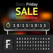 foto of countdown timer  - Black Friday sale countdown timer with alphabet - JPG