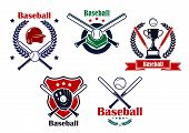 picture of baseball bat  - Colored Baseball emblems or badges with various designs of crossed bates with a helmet - JPG