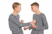 image of conscript  - Twin brothers playing a joke with each other - JPG