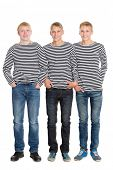 stock photo of conscript  - Smiling guys in striped shirts in full growth - JPG