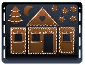 pic of gingerbread house  - Pieces of a gingerbread house on a baking plate - JPG