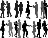 stock photo of waltzing  - silhouettes of dancing couples  - JPG