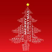 stock photo of christmas song  - Conceptual Christmas or Merry Christmas fir tree made of text as wordcloud isolated on red background - JPG