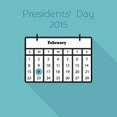 stock photo of february  - Flat holiday calendar icon - JPG