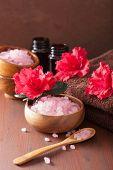 foto of azalea  - spa aromatherapy with azalea flowers and herbal salt on rustic dark background - JPG