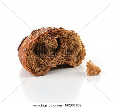 Piece of bread isolated on white