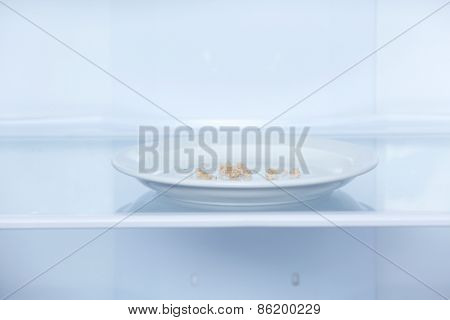 Bread crumbs on plate in refrigerator close up
