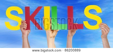 Many People Hands Holding Colorful Straight Word Skills Blue Sky
