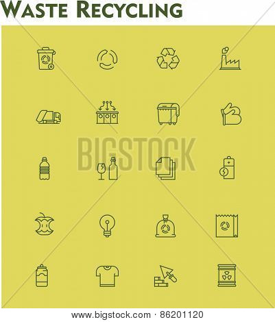Set of the garbage separation and recycling related icons