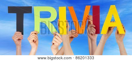 Many People Hands Holding Colorful Straight Word Trivia Blue Sky